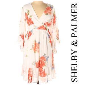 Shelby & Palmer Ivory Floral Chiffon Dress 1X